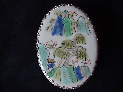 Vintage Chinese Handpainted Porcelain & Silver Plated Trinket Box Mountain Scene