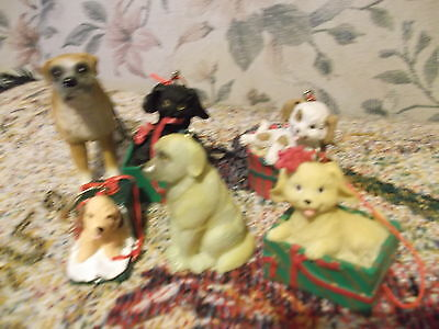 "Lot of 6 Dog 2""-3""  Christmas  Ornaments  3 by SCF 1 Taiwan  -very good"