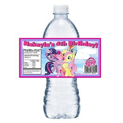 My Little Pony Personalized Birthday Party Favors ~ Water Bottle Labels Wrappers