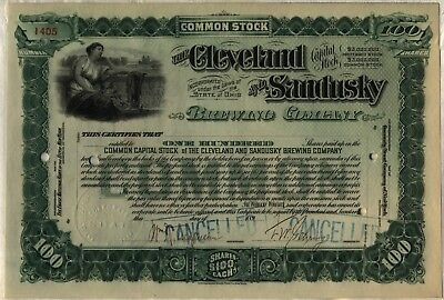 Cleveland & Sandusky Brewing Comapny Stock Certificate Beer