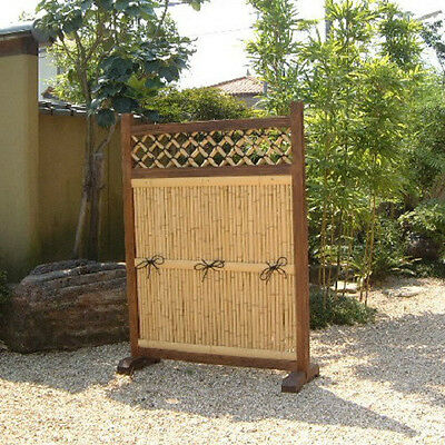 """The Bamboo Fence for the Garden """"Kakine"""" made of Japanese bamboo & cedar wood."""