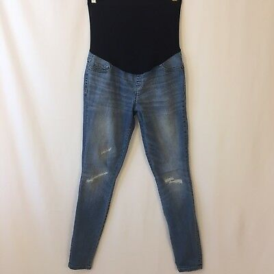 Liz Lange Maternity Jeggings Size XS Distressed Full Panel Denim Jeans