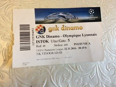 GNK DINAMO v OLYMPIQUE LYONNAIS UEFA CHAMPIONS LEAGUE NOVEMBER 2016- TICKET STUB