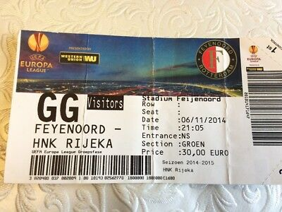 Feyenoord Rotterdam V Hnk Rijeka Europa League- November 2014- Ticket Stub