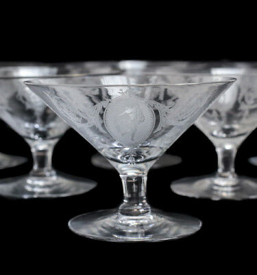 10pc Classic Tiffin Franciscan Etched Glass Low Sherbet Compote Glasses Dancer