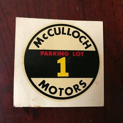 Vintage McCulloch Motors Advertising Decal Parking Lot 1 1951 Chainsaw Company