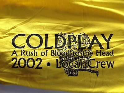 Coldplay Local Crew Yellow XL Rush Blood To The Head Tour 2002 Tee Shirt Rare