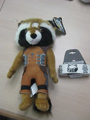 Marvel Guardians of Galaxy Rocket Raccoon Plush Comic Con Exclusive + Bracelet