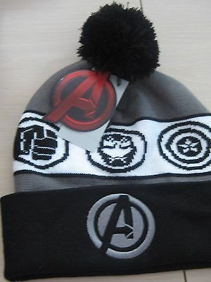 Disney Marvel Avengers Symbols Knit Beanie Hat Pom Pom Adult Head