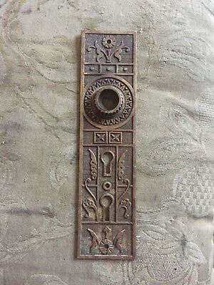 VTG Old Antique Fancy Brass EASTLAKE Double Keyhole Cover Door Knob Backplate