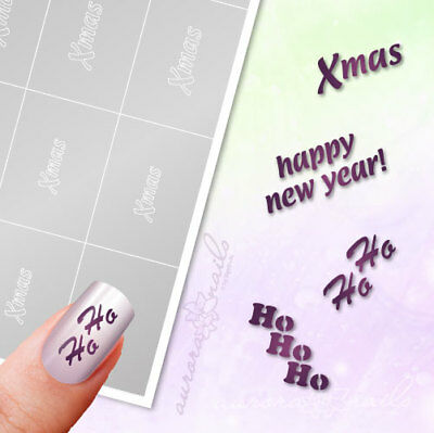 Airbrush Sticky Templates WS12 Winter Christmas Text Ho Ho Xmas Happy New Year