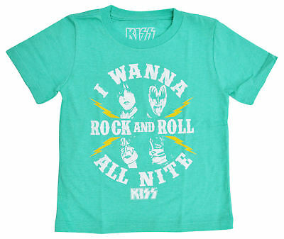 KISS Rock n Roll Toddler Boys Music Band T-Shirt - Turquoise