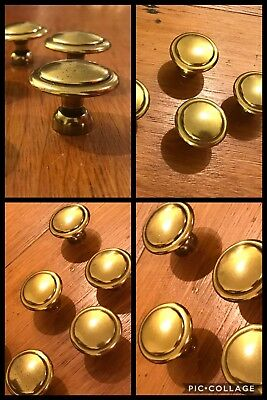 10 Knobs Pulls Round Antique Brass Tone  Mushroom Cabinet Drawer Retro Vintage