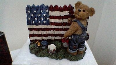 Boyds Bears resin sculpture, Tommy Bearyproud...God Bless America