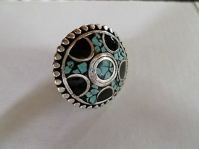 Taxco Mexico Handmade Alpaca Silver Turquoise Black Woman's Ring Size 6 3/4
