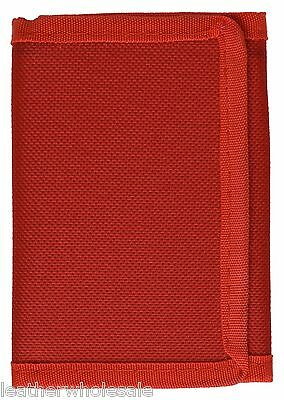 Kids Mens Solid Color Tri-Fold Nylon Wallet - Red