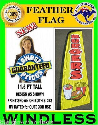 BURGERS flag WINDLESS feather flag banner sign wlb134 (Fi) for cafe or shop