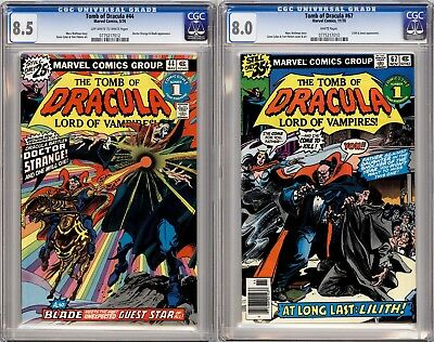Tomb of Dracula #44 CGC 8.5 OW/W and #67 CGC 8.0 W