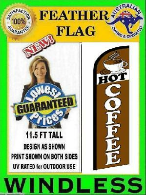 HOT COFFEE flag WINDLESS feather flag for bakery deli food shop Not teardrop