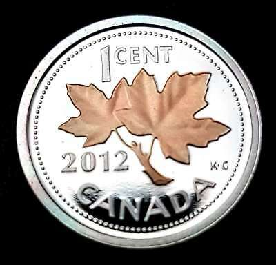 2012 1 Cent Penny .9999 Fine Silver & Gold Plated Canada Proof - From Mint Set