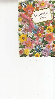2 Vintage Congrats and Good Wishes Greeting Cards with Envelopes