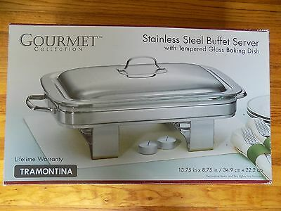 Buffet Server Stainless Steel TRAMONTINA Tempered Glass Gourmet  Collection