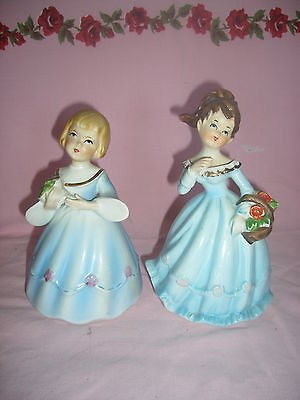 """Two Vintage Porcelain Bisque 6 1/2"""" Flower Girl figurines - both were musical"""
