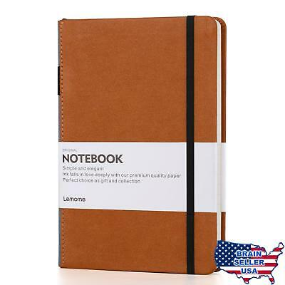 Thick Classic Notebook with Pen Loop - Lemome A5 Wide Ruled Hardcover Writing No