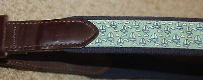 Boys Vineyard Vines leather and fabric belt, light green w/sailboats, size 28-31