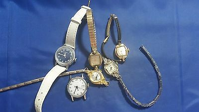 LOT OF 6 VINTAGE USED MECHANICAL WRISTWATCHES for parts