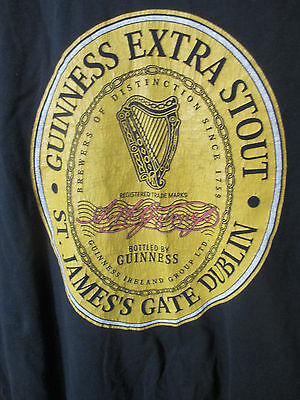 Guinness Extra Stout Black T-Shirt Size XL