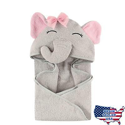 Hudson Baby Animal Face Hooded Towel for Girls, Pretty Elephant, New, Free Ship