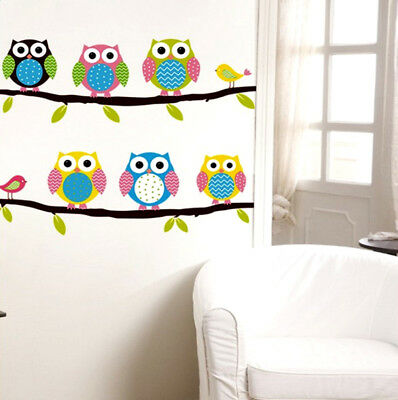 35cm*54cm Wall Stickers Decal Owl Birds Branch Removable Decor Kids Baby Room