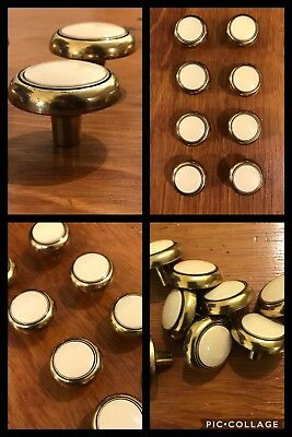 8 Knobs Pulls Ivory White CERAMIC & Antique Brass Tone Cabinet Drawer Vintage