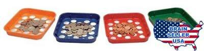 MMF Industries Speed Sort Coin Sorting Trays, 4 Color-Coded Trays for Pennies th