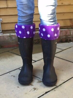 Fleece welly boot tops horses ponies socks muckers riding saddle