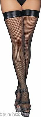 PVC TOP STAY UP STOCKINGS Thigh High with PVC Welt in Black Fits 8,10,12,14,16