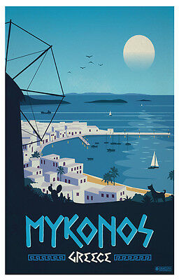 Fridge Magnet Vintage Travel Mykonos Greece  Magnete Da Frigo