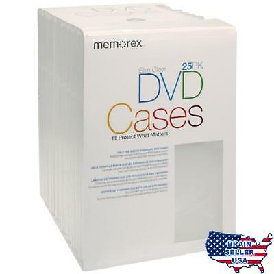 Memorex Slim DVD Video Storage Cases - 25 Pack - Clear, New, Free Ship