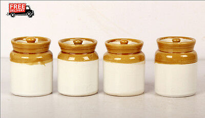 Set Of 4 New Hand Carved Unique Pickle Sugar Kitchen Commodity Jar No 3/4, 8164