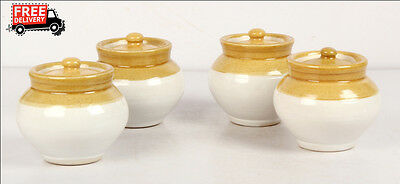 Set Of 4 New Hand Carved Unique Pickle Sugar Kitchen Commodity Jar No 1/2, 8171