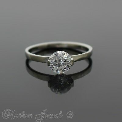 Round 7Mm Simulated Diamond Silver Stainless Steel Solitaire Engagement Ring