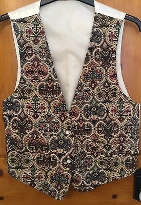 Vintage Topshop Ladies Waistcoat UK Size S/M Tapestry Floral Pattern Gold Retro