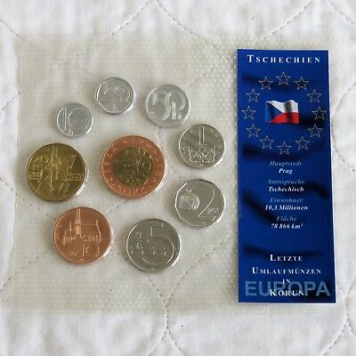 CZECH REPUBLIC 9 COIN UNCIRCULATED TYPE SET - sealed pack