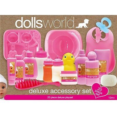 Dolls World Deluxe Accessory Set 20pc Doll Gift Feeding Accessories (Peterkin)