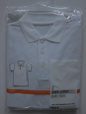 New Boys Girls Marks & Spencer White School Polo Shirt Age 4 Years DEFECT x 1