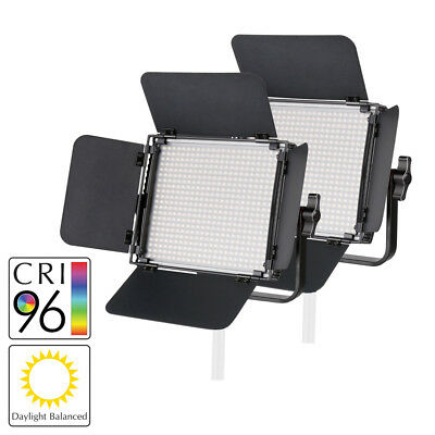 LED Panel Video Lighting Twin Kit Dimmable CRI95 Portable Remote Daylight 5500K