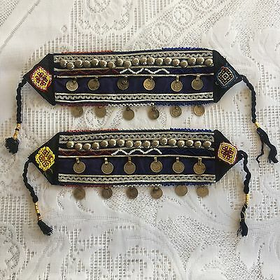 Vintage Tribal Gypsy Banjara Kuchi Boot Belt Cuffs Bohemian Coin Fashion Navy