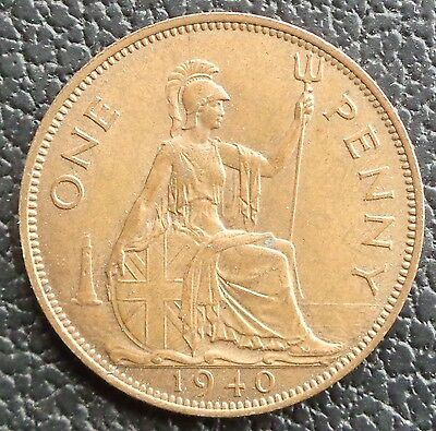 1940 George VI Penny Strong Grade Ref 1564/12