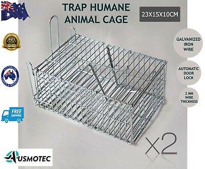 New Trap Humane Animal Cage Cat Hare Rat Safe Catch 23x15x10cm Set of 2 Silver